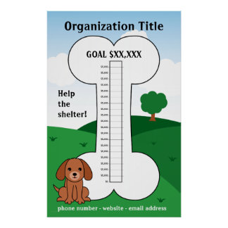 Dog Cause Fundraising Thermometer Print
