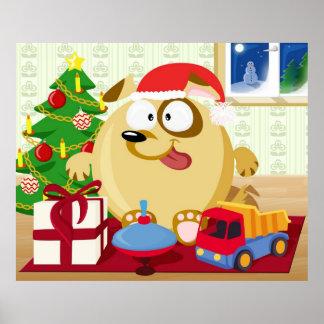 Dog celebrates Christmas Poster