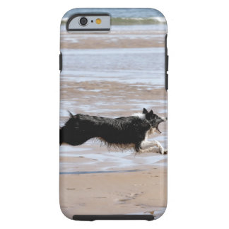 Dog chasing a ball at the beach tough iPhone 6 case