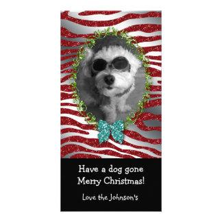 Dog Christmas Cute Photo Frame Zebra Glitter Custom Photo Card