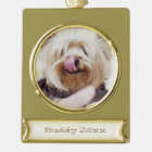 Dog Christmas Ornaments Gold Plated Photo Banner