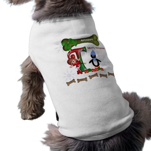 Dog Christmas Sweater Initial T Sleeveless Dog Shirt
