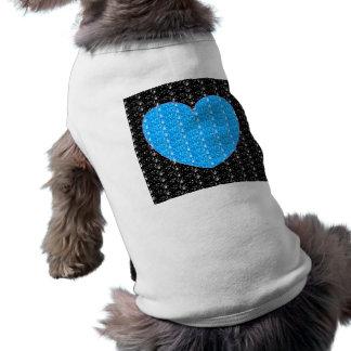 Dog Clothing Black Bright Blue Heart Glitter
