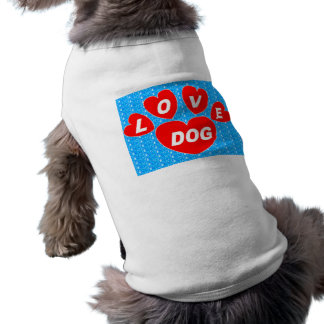 Dog Clothing Love Dog Hearts Red on Bright Blue