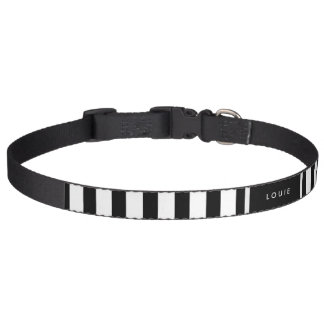 Dog Collar - Black & White Stripes - Name Optional