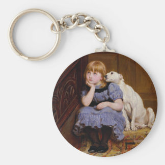 Dog Comforting Girl - Sympathy by R.Briton Key Ring