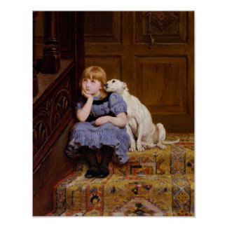 Dog Comforting Girl - Sympathy by R.Briton Poster