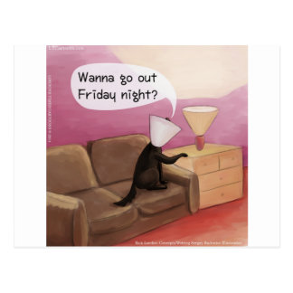 Dog Cone Dating Funny Cartoon Postcard