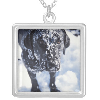 Dog covered in snow silver plated necklace