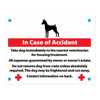 Dog Crate Card In Case of Emergency Postcard