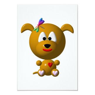 Dog: Cute dog with dragonfly! 9 Cm X 13 Cm Invitation Card