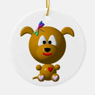 Dog: Cute dog with dragonfly! Christmas Ornament