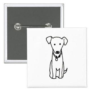 Dog - cute fun line drawing art logo design simple 15 cm square badge