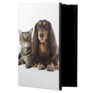 Dog (Dachshund) and cat (Japanese cat) on white iPad Air Case