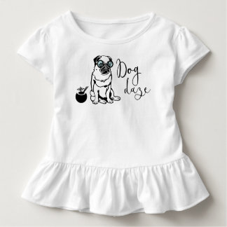 """Dog Daze"" Humorous Pug in Sunglasses Toddler Tee"