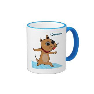 Dog Doing Yoga - Funny Yoga Gifts Ringer Mug