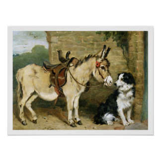 Dog Donkey Animal Friends - Vintage Art by Emms Poster