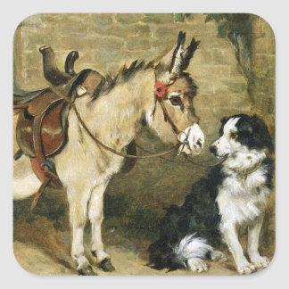 Dog & Donkey Animal Friends - Vintage Art by Emms Square Stickers