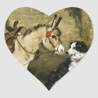 Dog & Donkey Animal Friends - Vintage Art by Emms Stickers