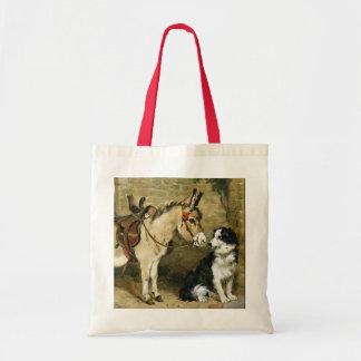 Dog & Donkey Animal Friends - Vintage Art by Emms Tote Bag