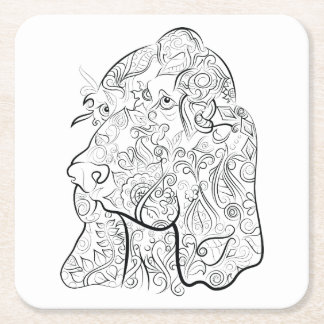 Dog drawing adult colouring coaster