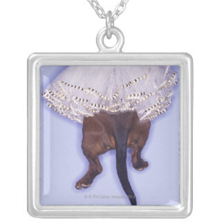Dog dressed up silver plated necklace