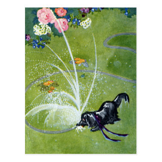 Dog Drinking from Garden Hose Post Cards