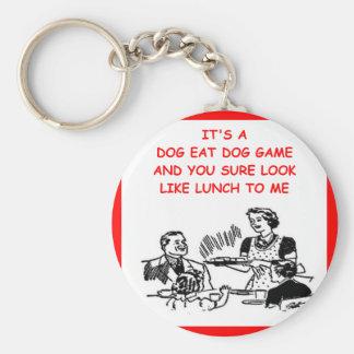 dog eat dog basic round button key ring