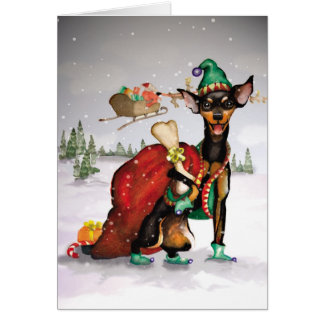 Dog Elf - Miniature Pinscher Christmas Card