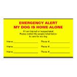 Dog Emergency Alert Home Alone Card Pack Of Standard Business Cards