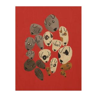 Dog faces wood print
