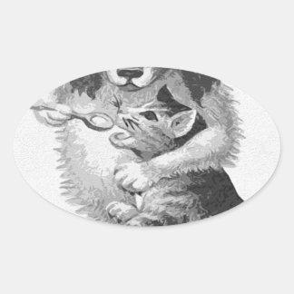 Dog feeding a cat oval sticker