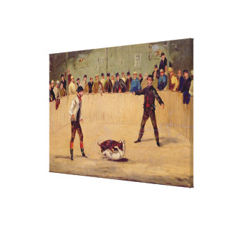 Dog Fighting oil on paper Gallery Wrap Canvas