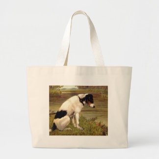 Dog Fishing with Anticipation Canvas Bag