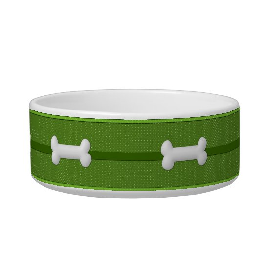Dog Food Bowl Polkadots Green and White