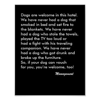 Dog Friendly Hotel Sign with black background Poster
