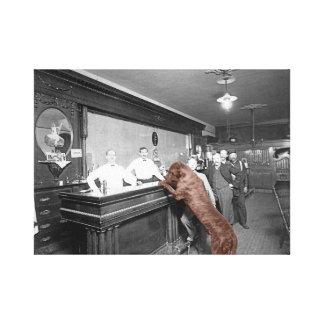 Dog Friendly Saloon Bar Tavern Men Drinking Beer Canvas Print