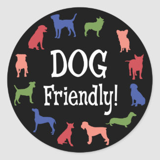 Dog friendly with colorful dog breed silhouettes classic round sticker