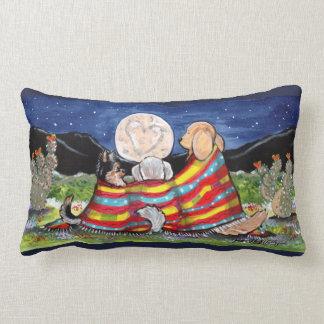 Dog Friends Watching Desert Moon Designer Pillow