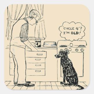 Dog Getting Older Square Sticker