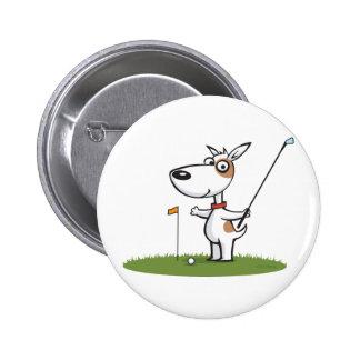 Dog Golf 6 Cm Round Badge