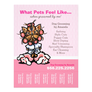 Dog Groomer Ad Spa Yorkie Pink Tear Sheet 21.5 Cm X 28 Cm Flyer