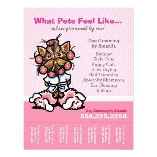 Dog Groomer Ad Spa Yorkie Pink Tear Sheet Flyer