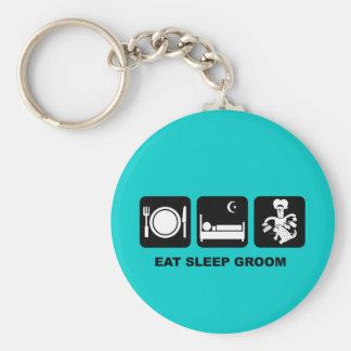 Dog groomer basic round button key ring