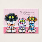 Dog Groomer Grooming Dogs in Robes Pink Business Card
