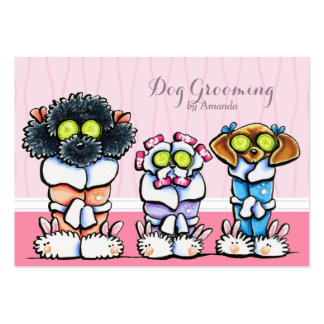 Dog Groomer Grooming Dogs in Robes Pink Pack Of Chubby Business Cards