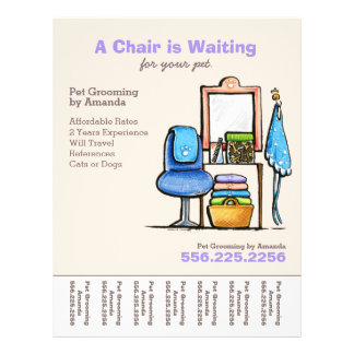 Dog Groomer Pet Salon Chair Waiting Tear Sheet 21.5 Cm X 28 Cm Flyer
