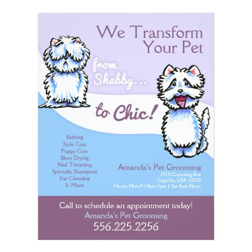 Dog Groomer Shabby Chic Westie Promotional Flyer Design