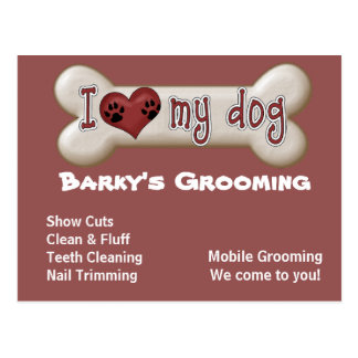 Dog Grooming Advertising Promoting Postcards