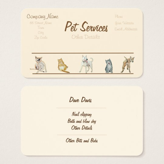 dog Grooming and pet care services Business Card